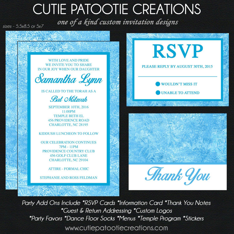 Blue Ice Winter Wonderland Bat Mitzvah Invitation Save the Date
