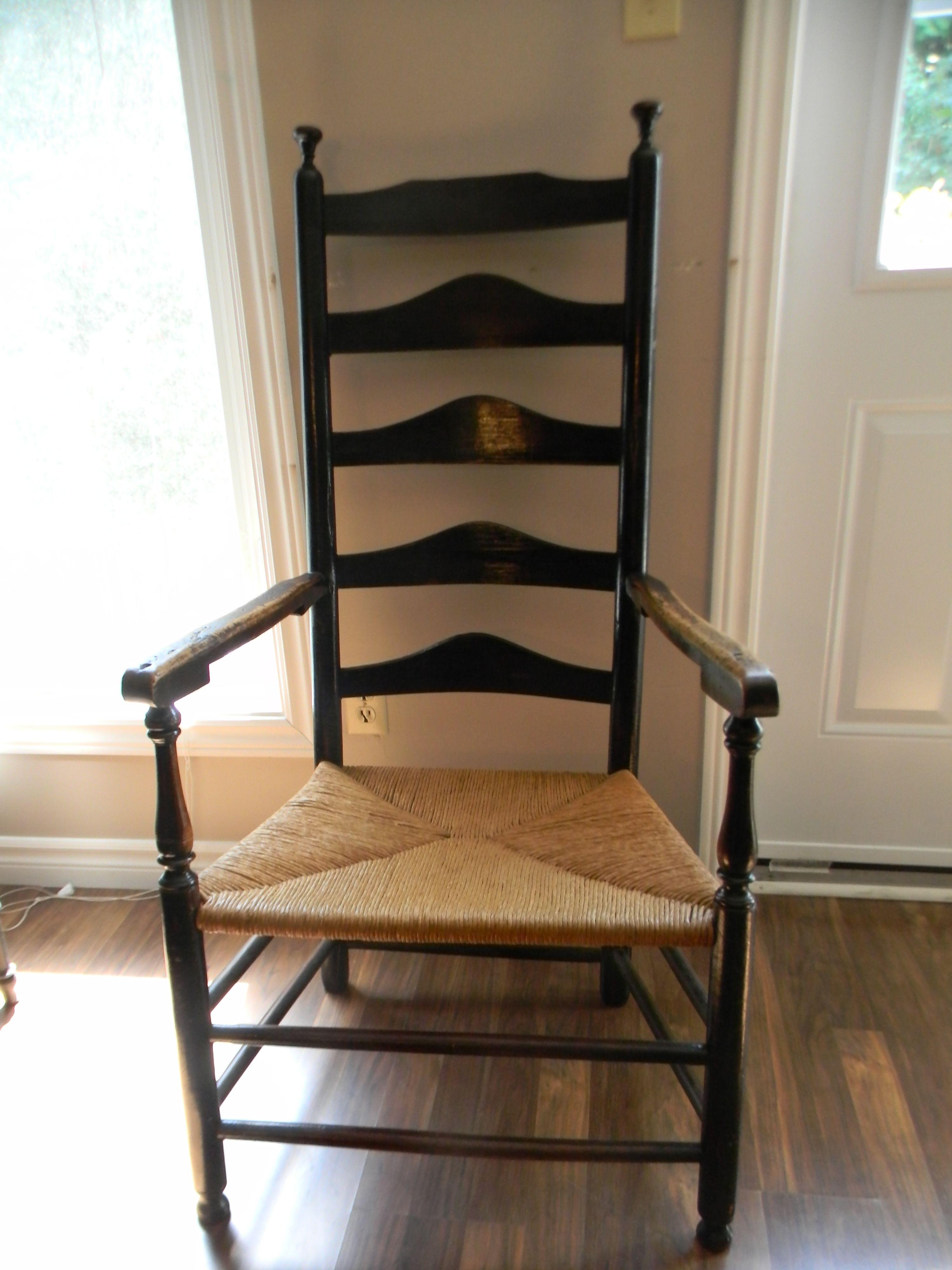 "Antique ""Delaware River Valley Ladder Back Armchair Circa"