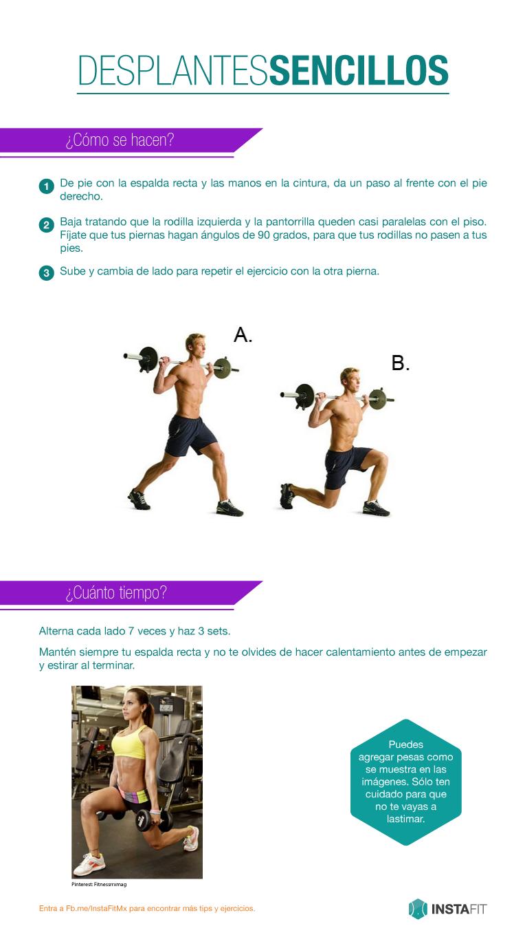 Desplantes. Ejercicio para piernas y pompas. #InstaFit #Fitness #Workout