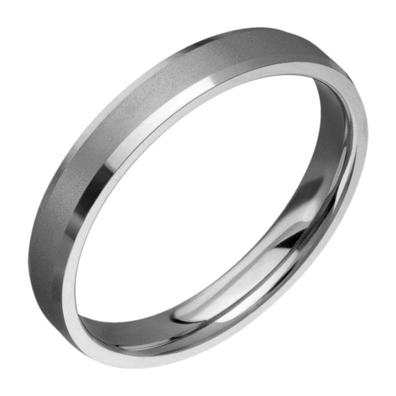 4mm Titanium Comfort Fit Wedding band With Beveled Edges