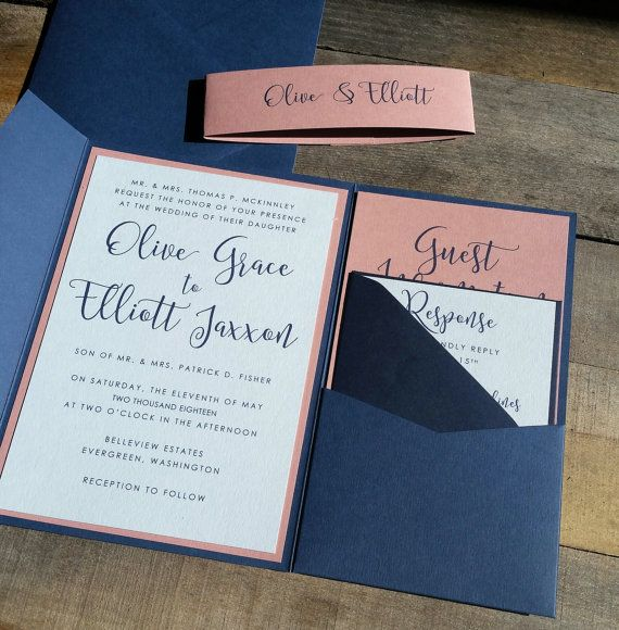 Blue and Pink Wedding Invitation Suite Wedding Invitation