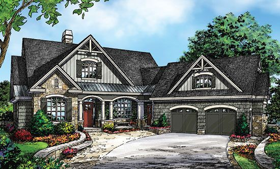 Charming Craftsman Cottage With Angled Garage Garage