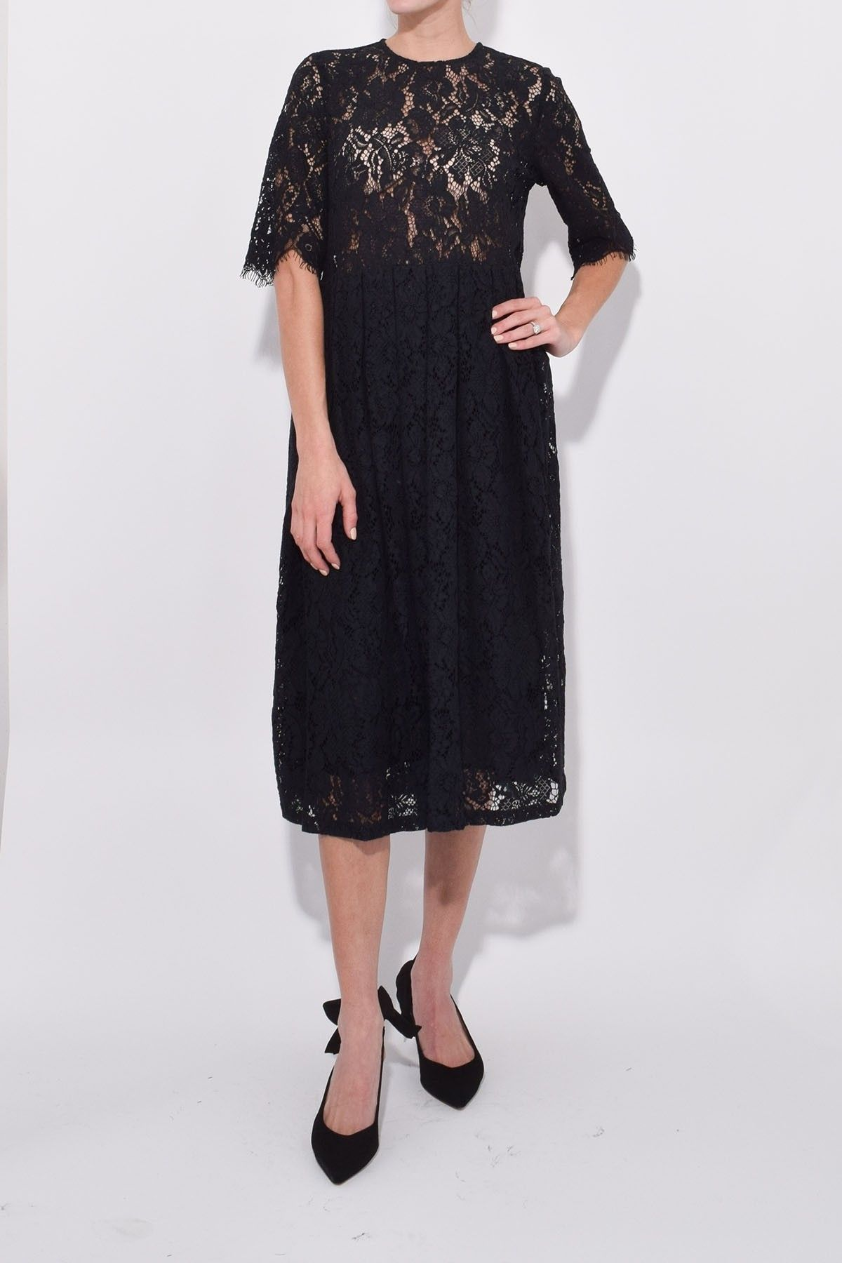 bc6155b4 Ganni Cotton Lace Dress in Black | Hampden Dresses | Lace dress ...