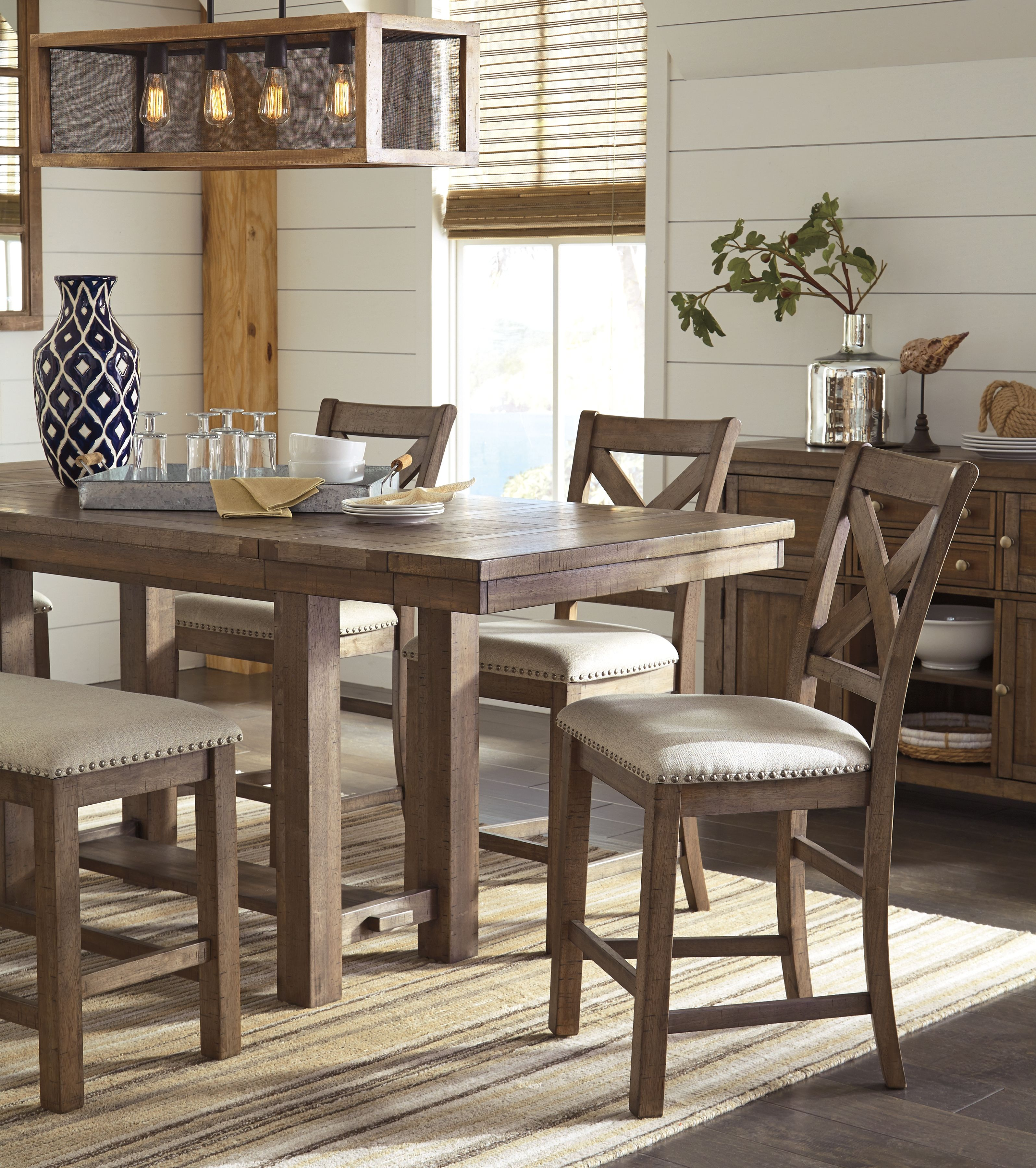 Moriville Counter Height Bar Stool Set Of 2 Beige Small Dining Room Set Dining Room Small Side Chairs Dining
