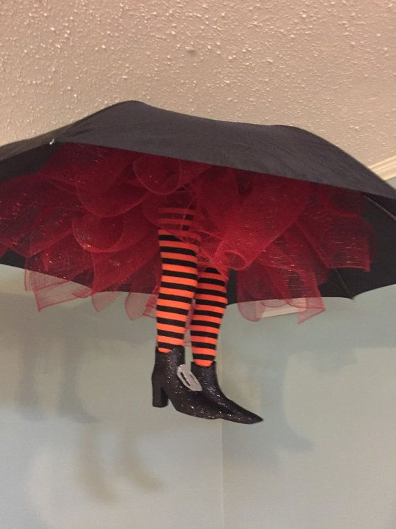 Umbrella witches legs are really cute Halloween decorations you hang - fun homemade halloween decorations