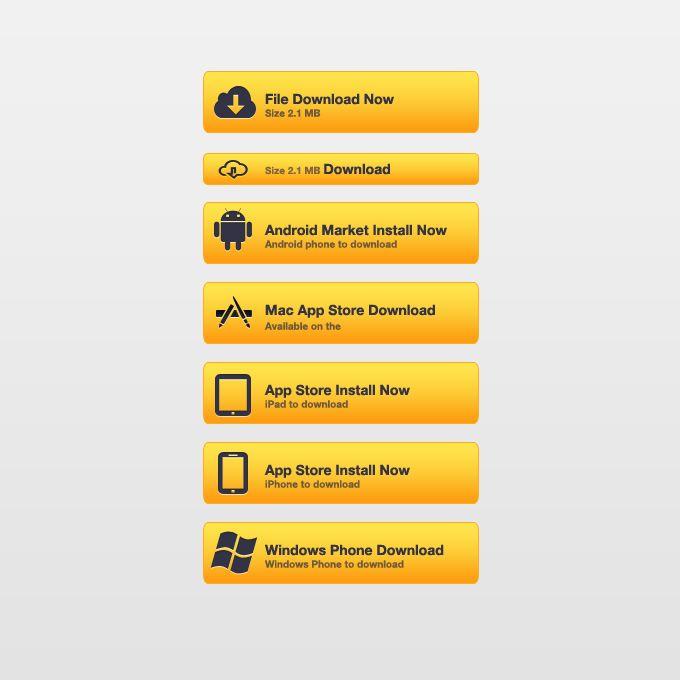 Yellow Download Buttons Psd freebies, Psd, Mac app store