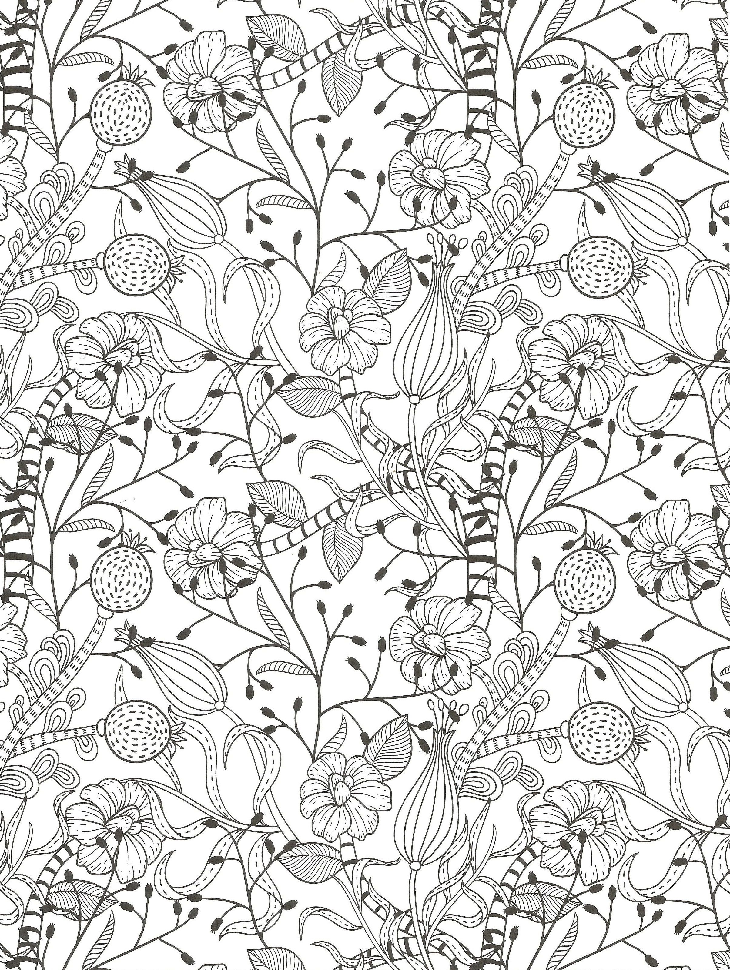 Floral coloring page for adults coloring page pinterest