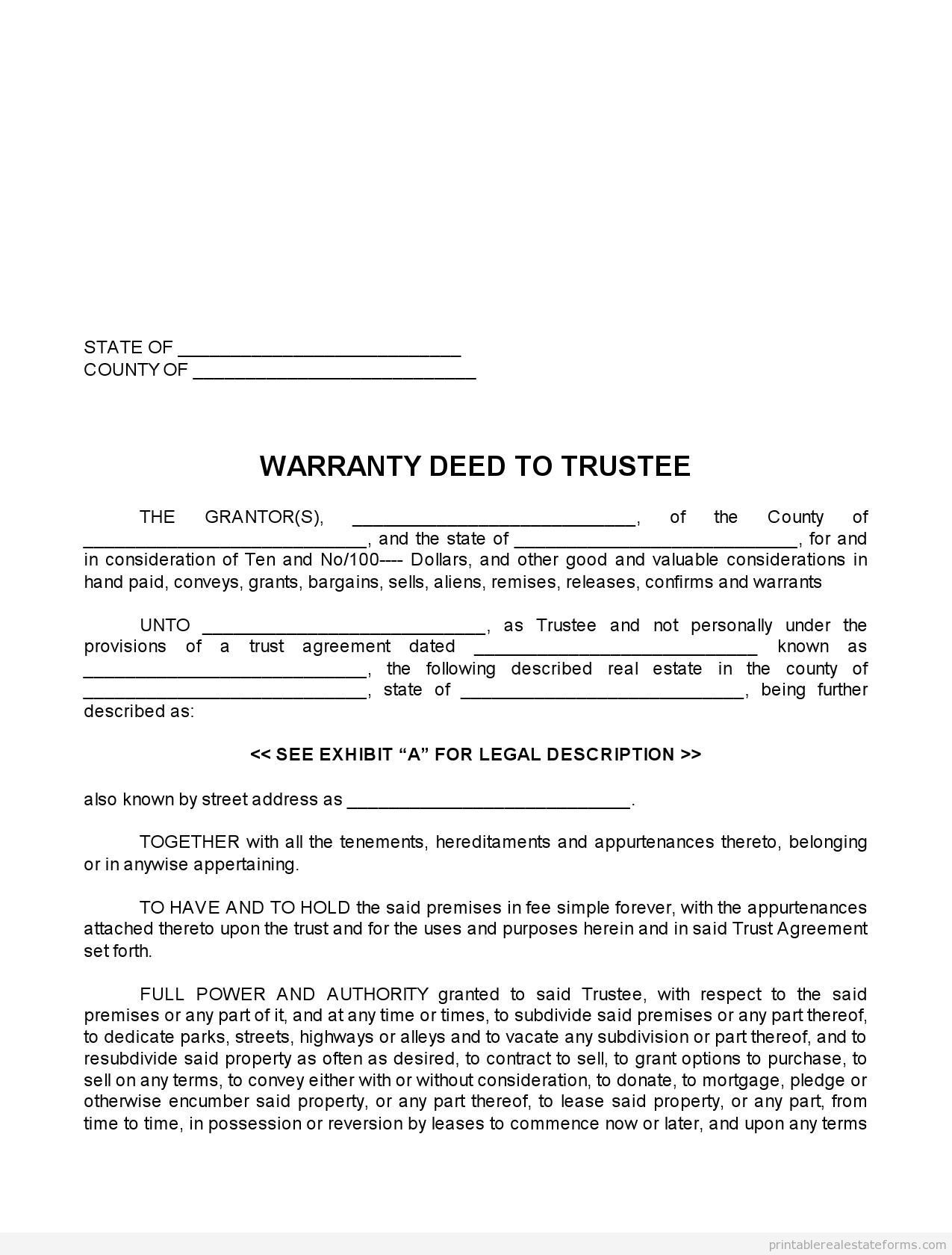 Sample Printable Warranty Deed To Trustee Form  Printable Real