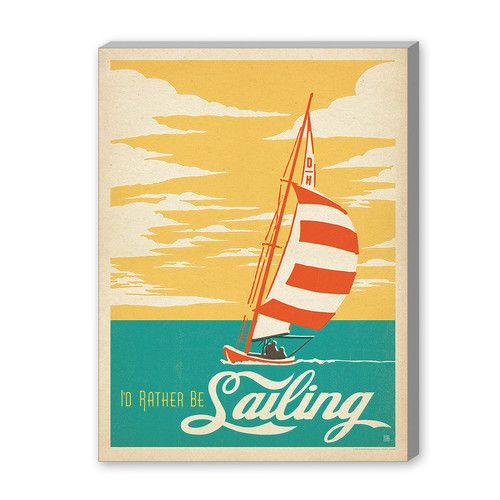 Americanflat Coastal I'd Rather Be Saling Vintage Advertisement Graphic Art