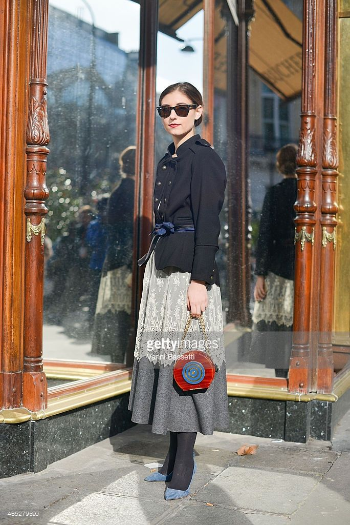 Jenny Walton poses in a vintage outfit on Day 3 of Paris Fashion Week Womenswear FW15 on March 5, 2015 in Paris, France.