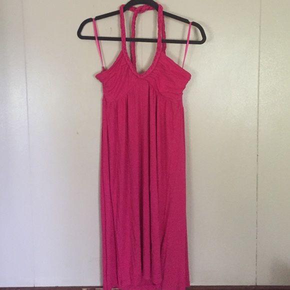 H&M Dress H&M halter dress, braided ties, hot pink H&M Dresses Backless