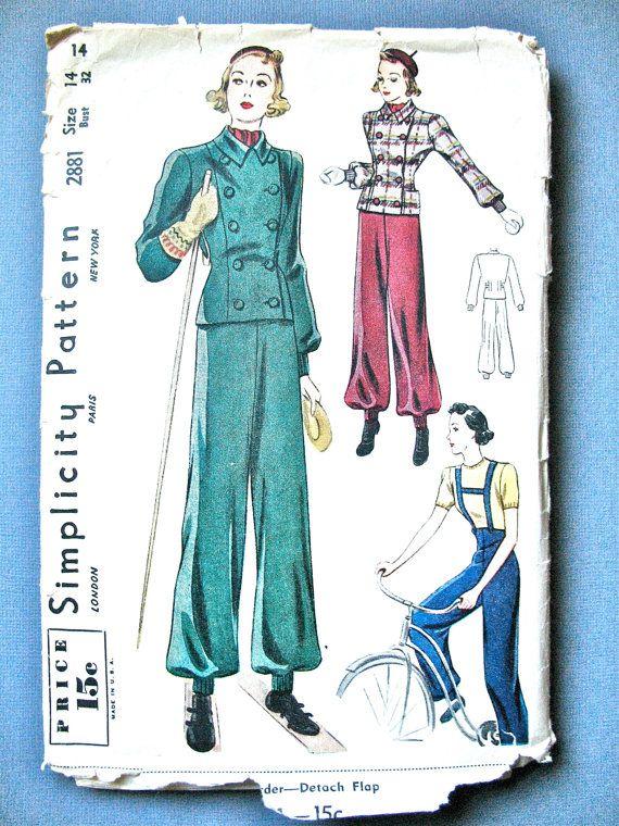 1930er Jahren Einfachheit 2881 Vintage vermisst Ski-Anzug nähen ...