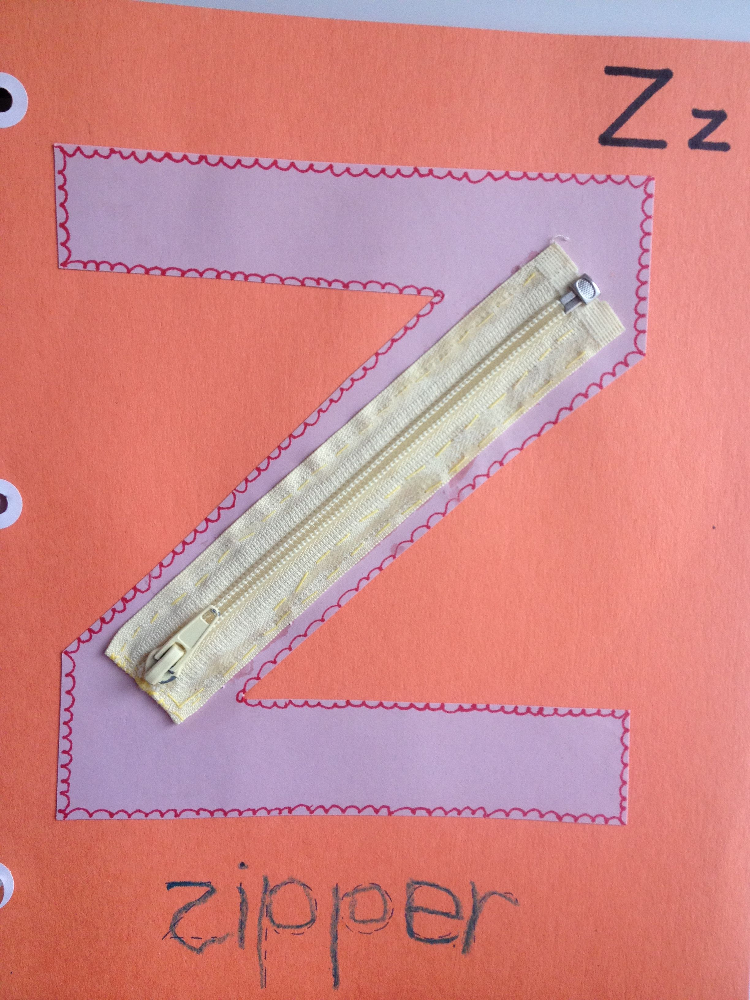 Z is for zipper. I took a zipper out of an infant outfit, cut it ...