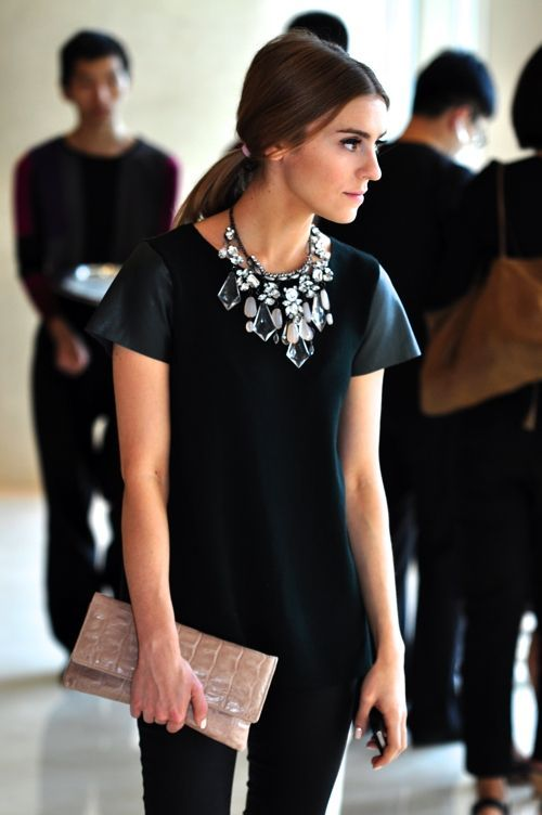 Chunky necklace with black dress