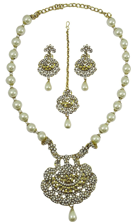 Matra gold tone ethnic cz stone pcs peacock design necklace set
