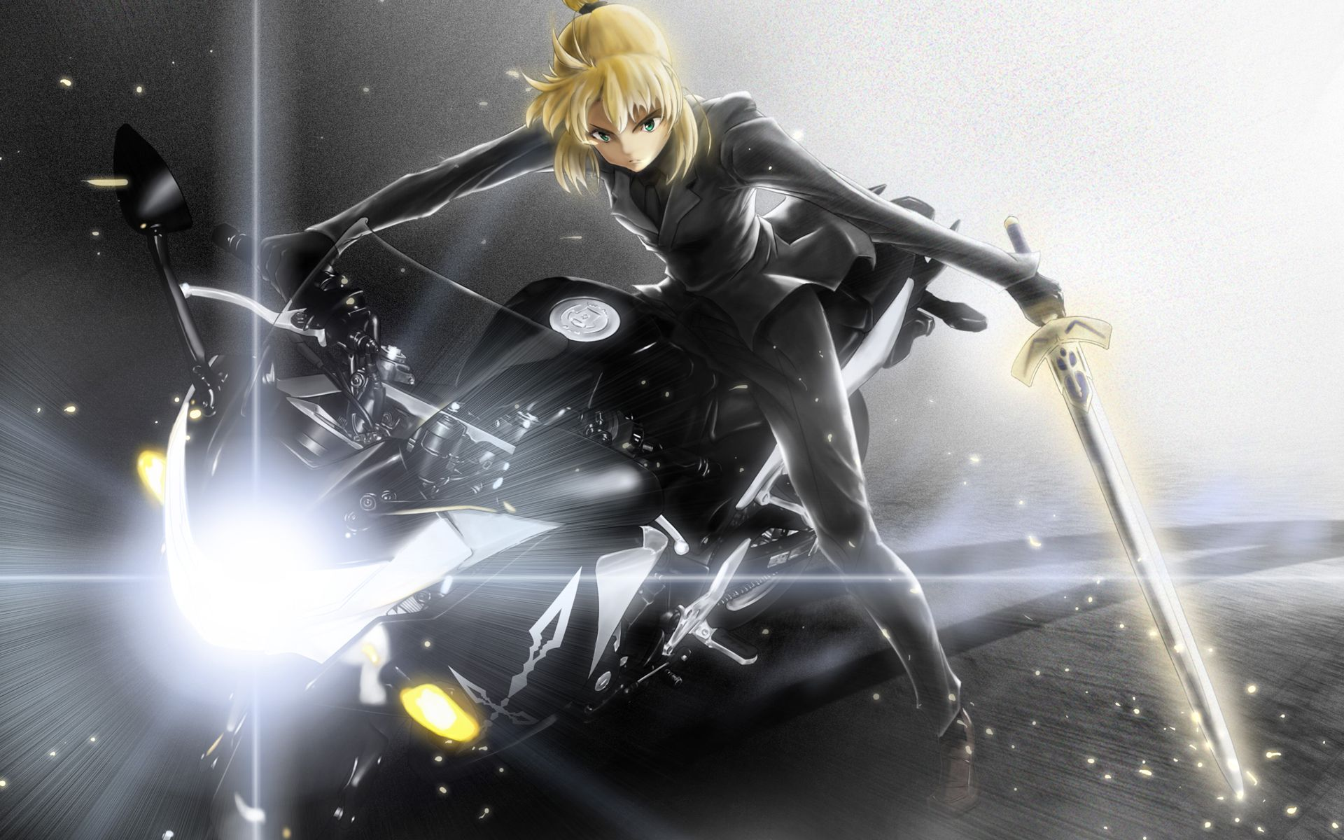 Fate/Zero Saber on a motorcycle Arte, Fate/stay night