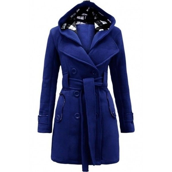 Fashion Simple Color Double-breasted Belt Decoration Hooded Coat ($43) ❤ liked on Polyvore featuring outerwear, coats, blue double breasted coat, double breasted coat, blue coat, long sleeve coat and hooded coat