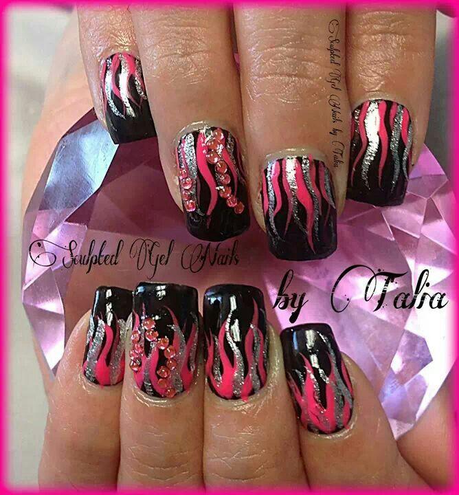 Flames Nail design | Nail Styles | Pinterest | Designs nail art ...