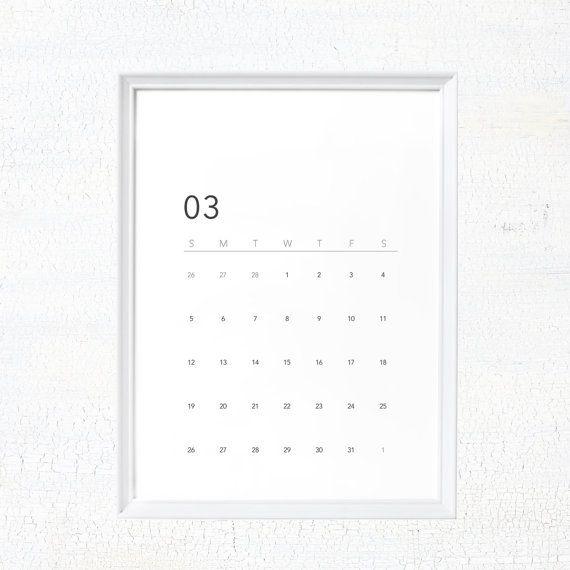 Minimalist  Printable Calendar  Calendar By Dyastudio