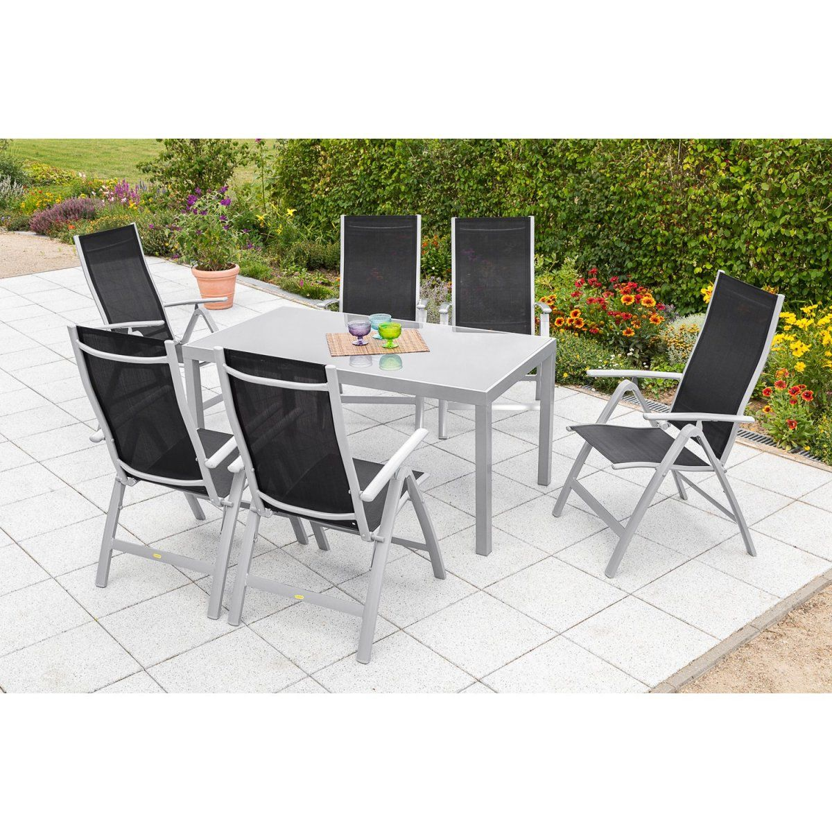 Gartenmöbel-Set Carrara 7-tlg. Schwarz inkl. Tisch 150 cm x 90 cm ...