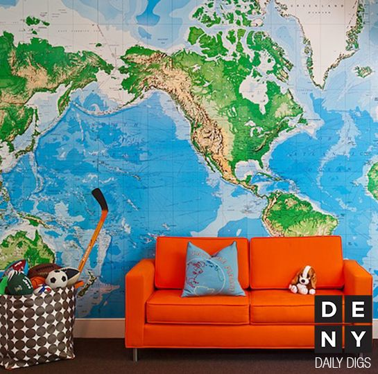 Orange couch/sofa, World map wall paper