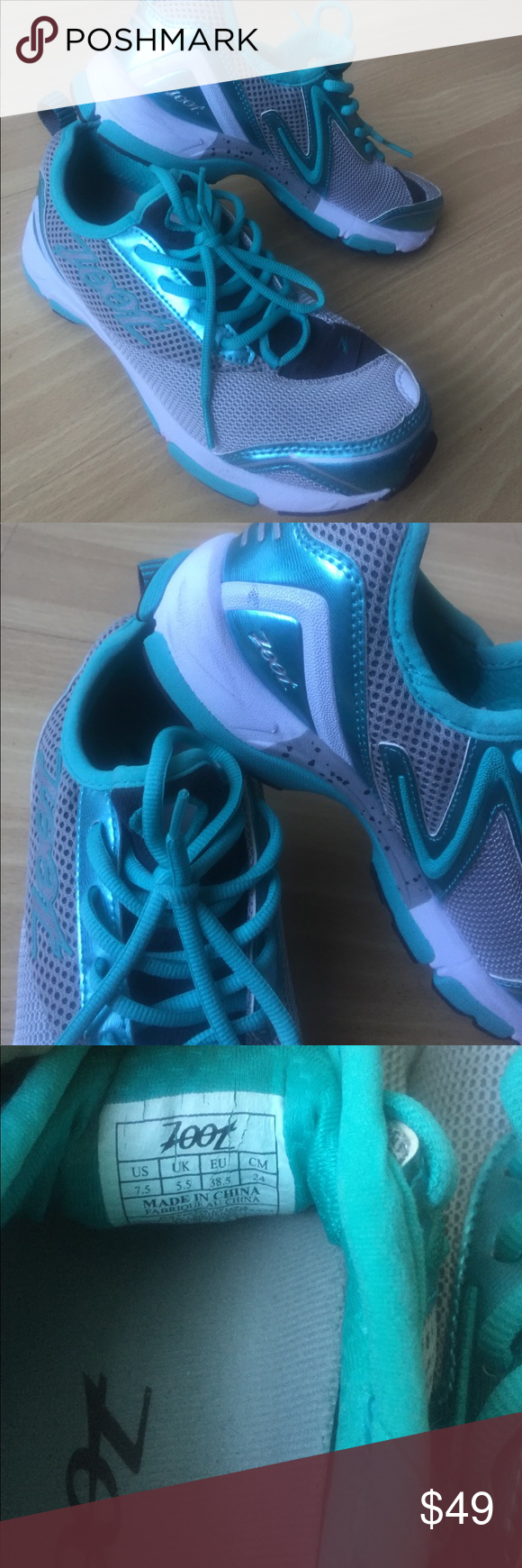 Zoot Kapilani 2.0 running shoes Awesome running sneakers. If you aren't familiar with the zoot brand- get familiar. Amazing compression type of fitness clothing with phenomenal shoes. Cute aqua-turquoise with grey and white. Worn only a handful of times. Zoot Shoes Athletic Shoes