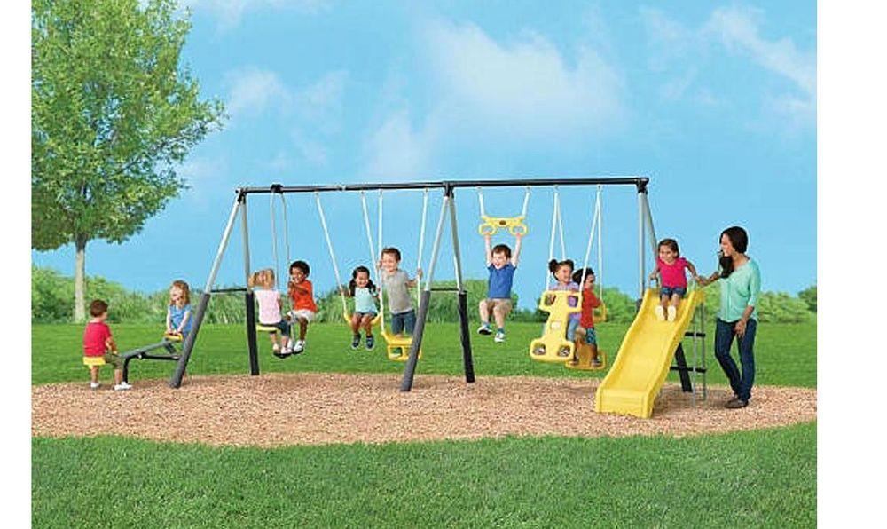 Castleton Swing Set With Slide Seesaw Backyard Play Set Playground