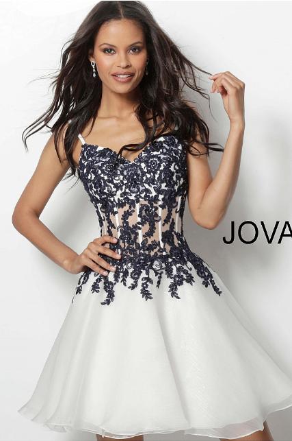 3fc8c4eb83 Ivory Navy Embroidered Bodice Chiffon Jovani Short Dress 65718 in ...