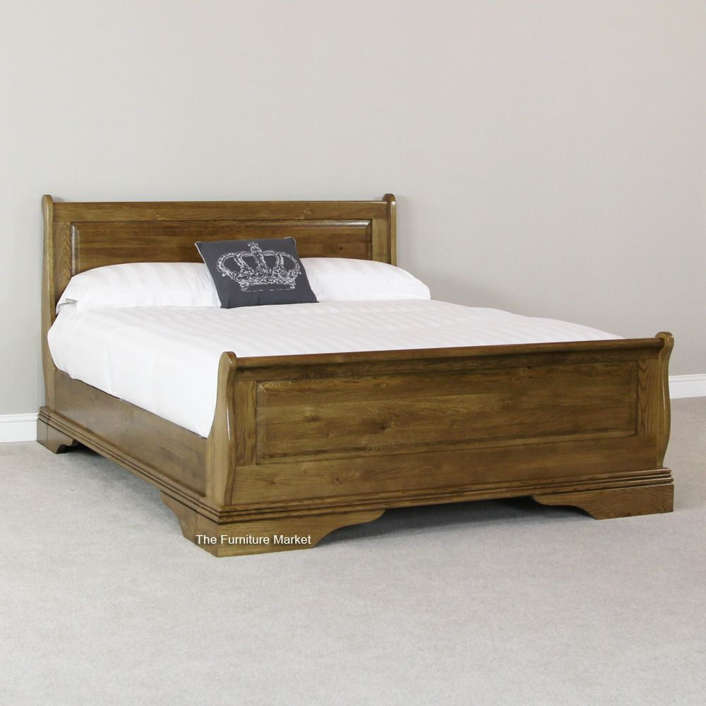 - French Louis Solid Oak 5ft King Size Sleigh Bed £499 Rustic