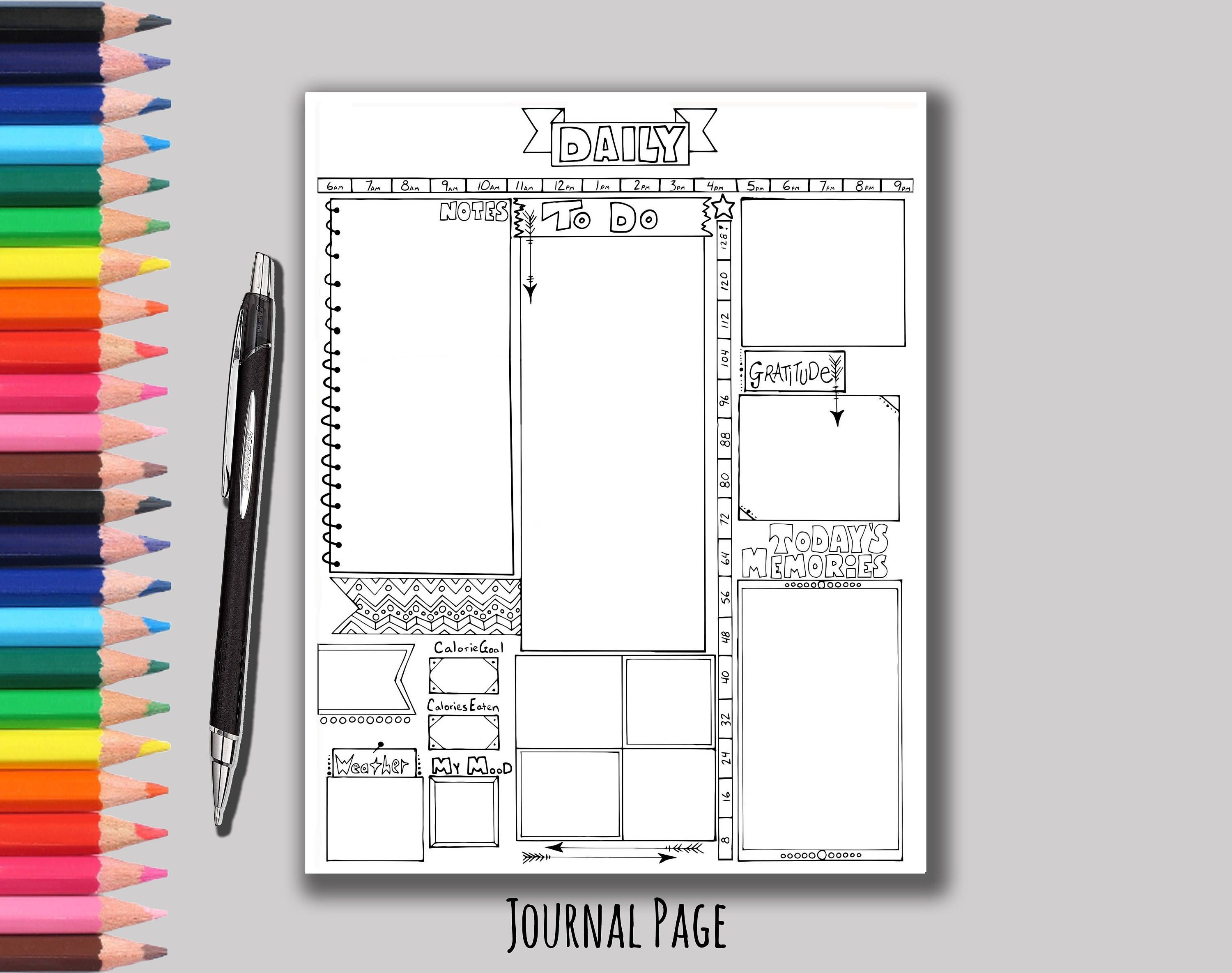 Printable Daily Planner Page Bullet Journal Daily Planner Etsy Daily Bullet Journal Daily Planner Pages Planner Pages