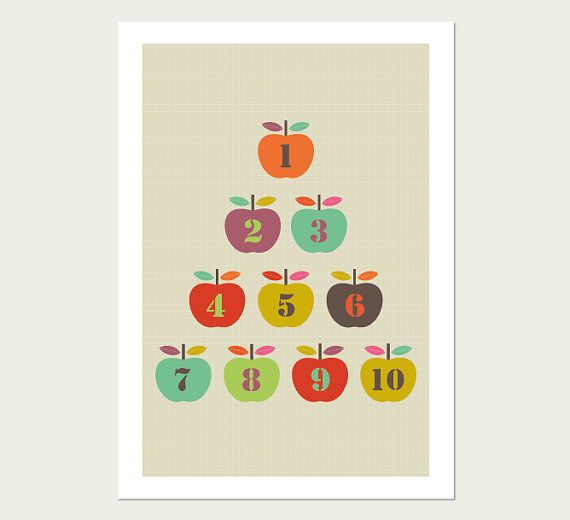 Colors for playroom. Apples Kids Room Art Print. Numbers 1 to 10 ...