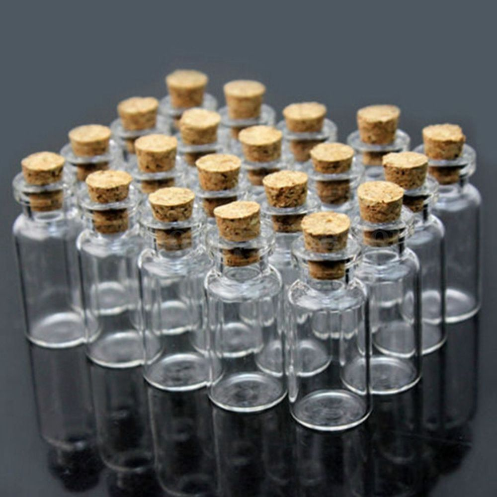 10//20pcs Small Cork Stopper Glass Message Wishing Bottle Vial Jars Container DIY