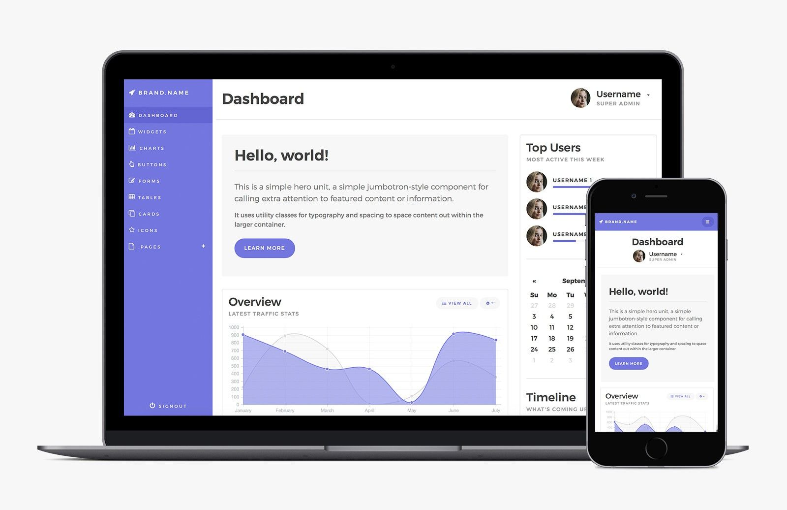 Bootstrap Admin Dashboard Template - Free Template