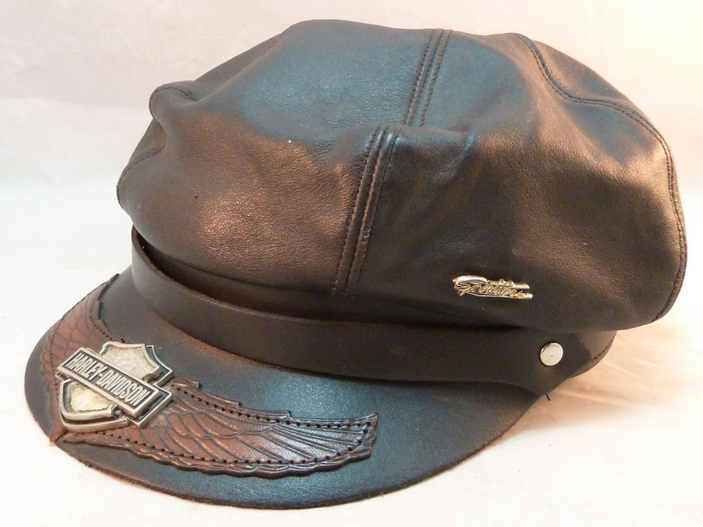 2ff6132d Harley Davidson Hat Cap Black Leather Biker Made in USA One Size Wing Shield
