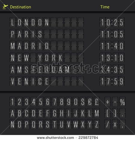 Airport Departure Arrival Destination Mechanical Counter Board