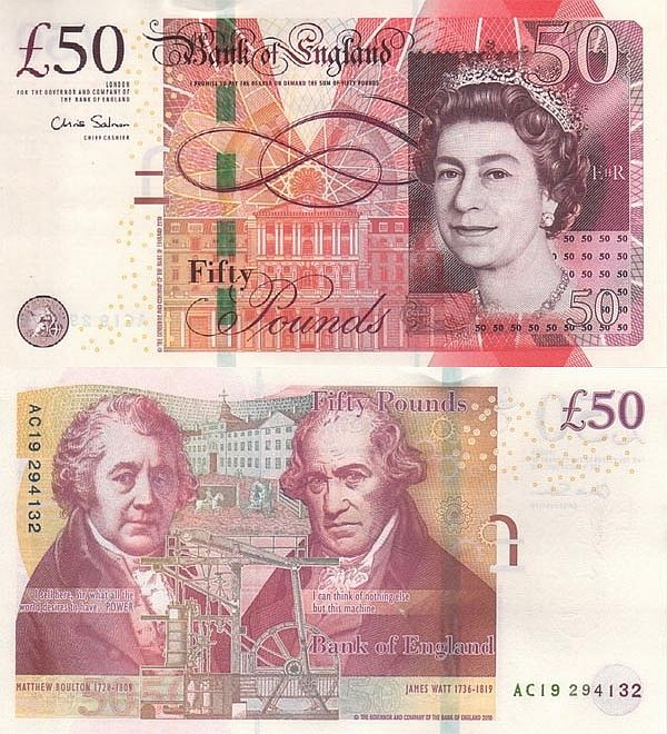 50 Pounds Great Britain England 2010 Bank Notes Money Notes Money Template
