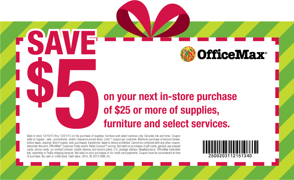 5 Off 25 At Officemax Or Online Via Promo Code Save5 Office Max Coupon Apps Coupons