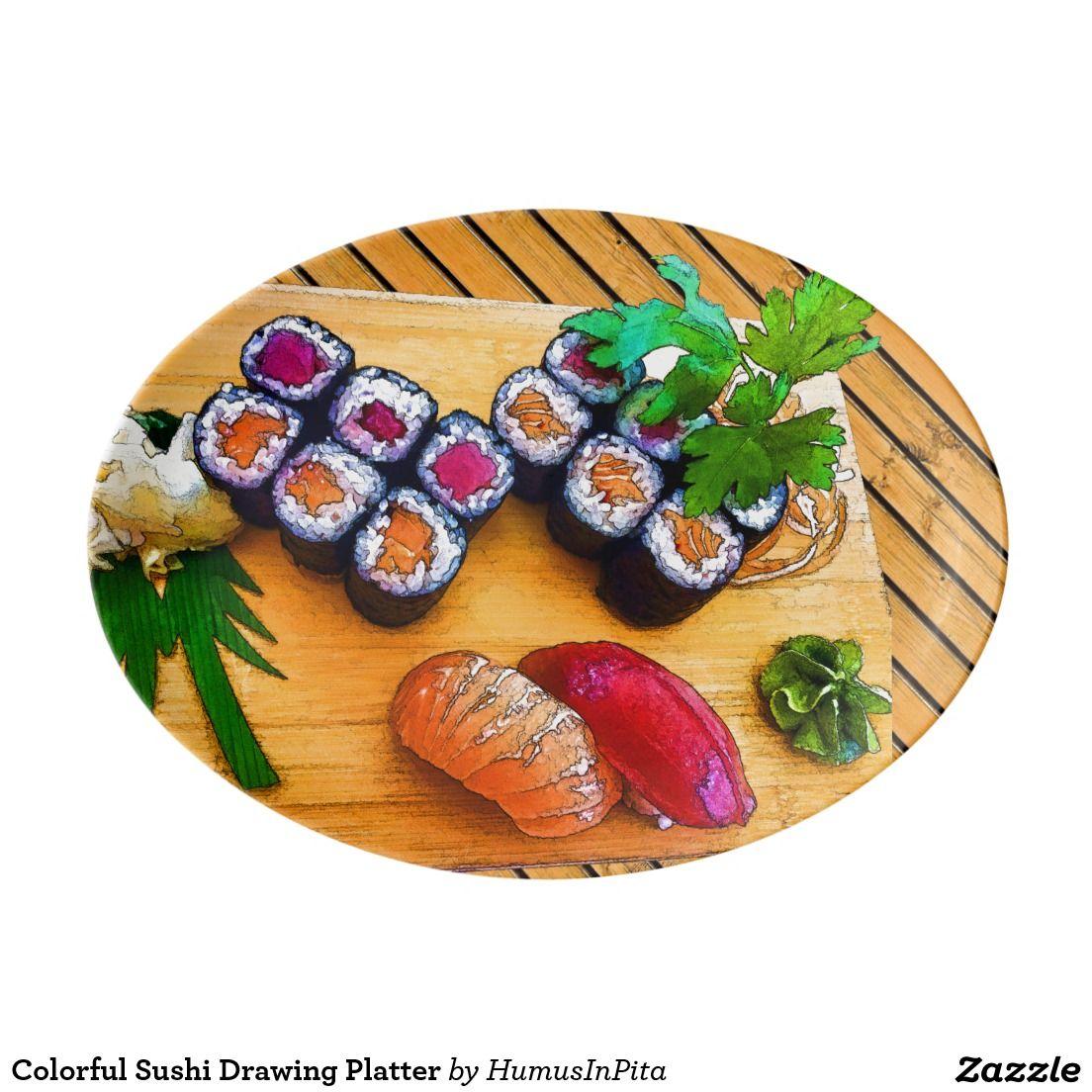 colorful sushi drawing platter zazzle
