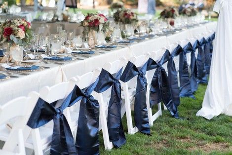 Gold Glitz Sequin Table Runner With Navy Blue Chair Sashes Wedding