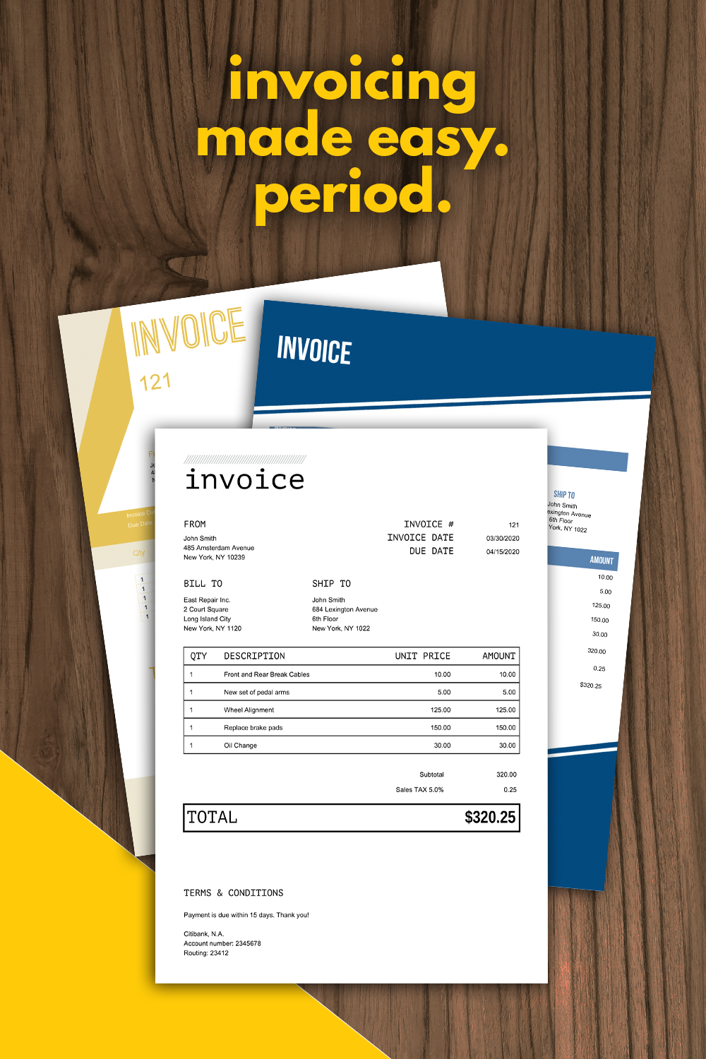 Invoicing Made Easy Period Business Notes Creating A Business Plan Invoice Design