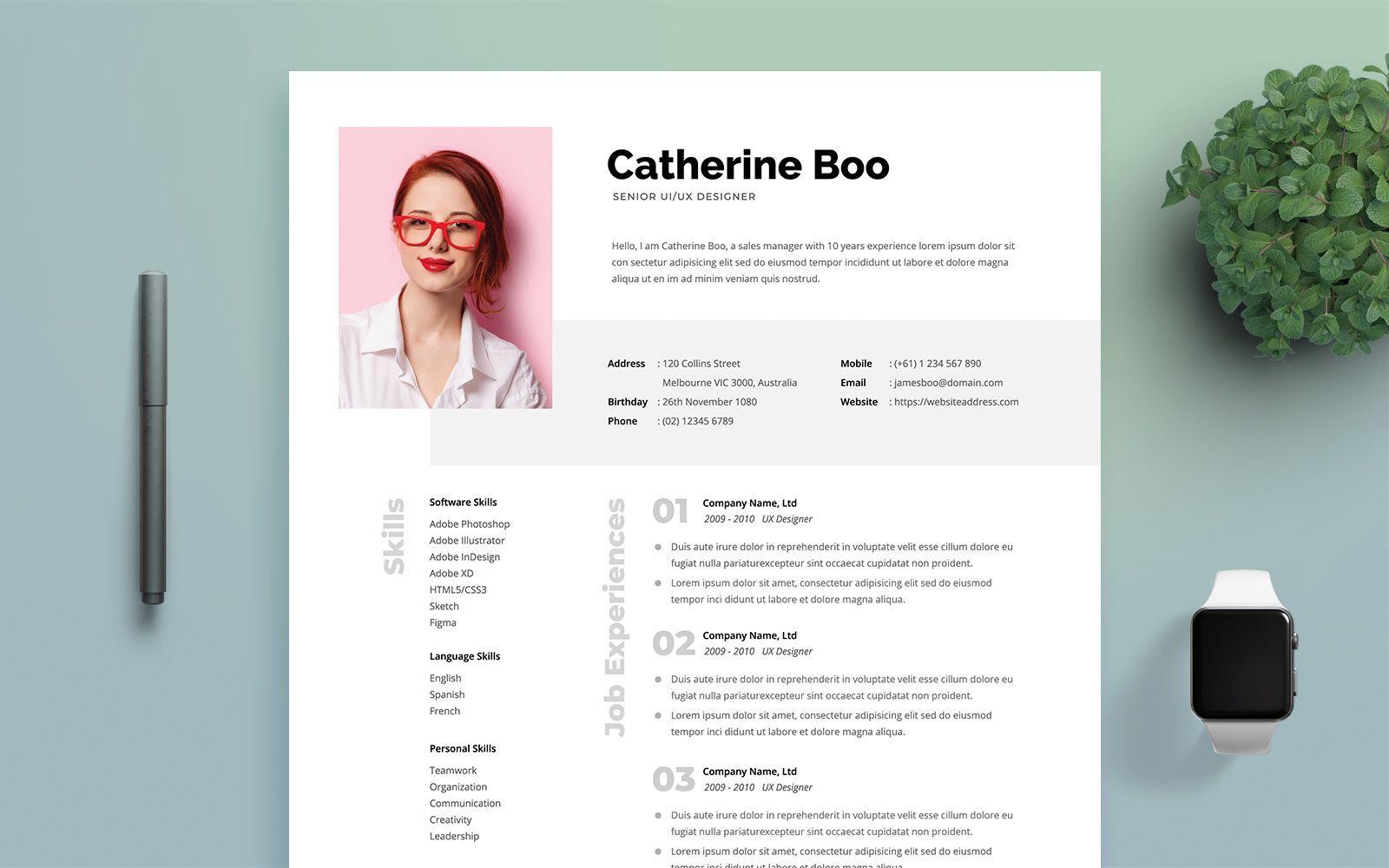 Professional Woman Resume Template In 2020 Resume Template Resume Modern Resume Template