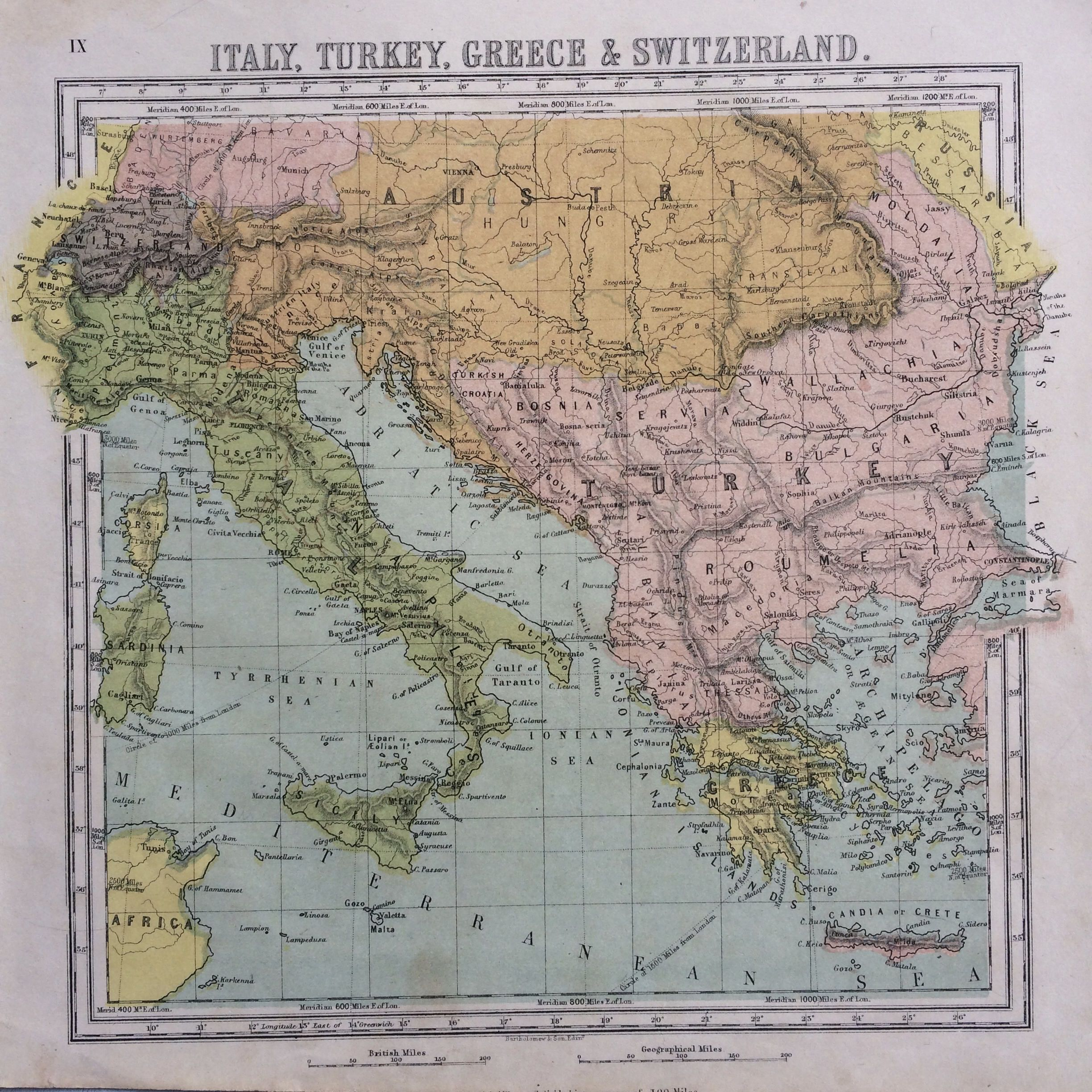 1865 italy turkey greece and switzerland original antique hand 1865 italy turkey greece and switzerland original antique hand coloured engraved square map gumiabroncs Choice Image
