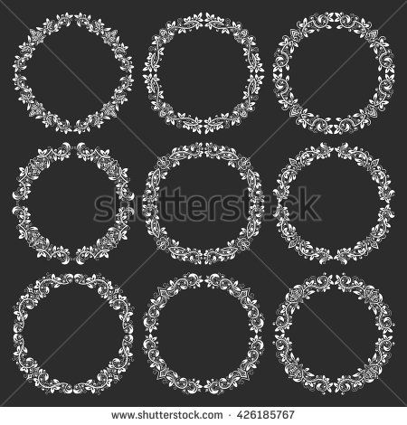 Set of #floral #round #frames in #vintage style. #Circular #wreaths bundle in victorian style. White elements for design on black background.