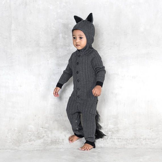a755196482908 Baby Wolf Suit - Costume - Handmade Knit Animal Toddler Romper ...