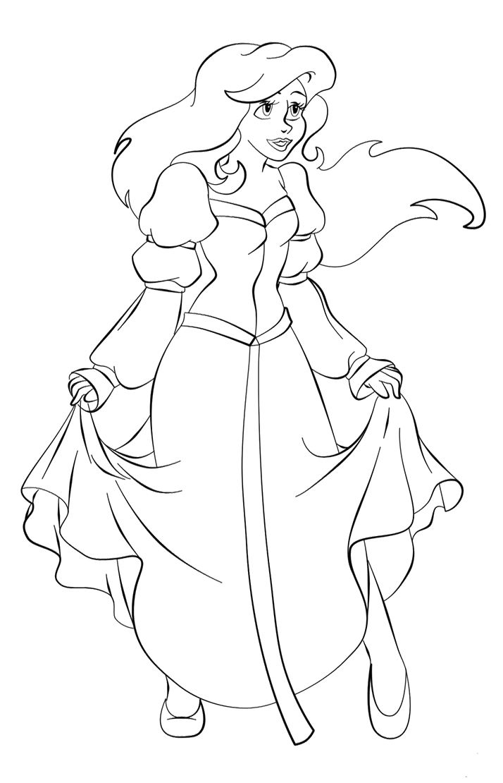 Princess Ariel With New Dress Coloring Pages | coloring pages ...