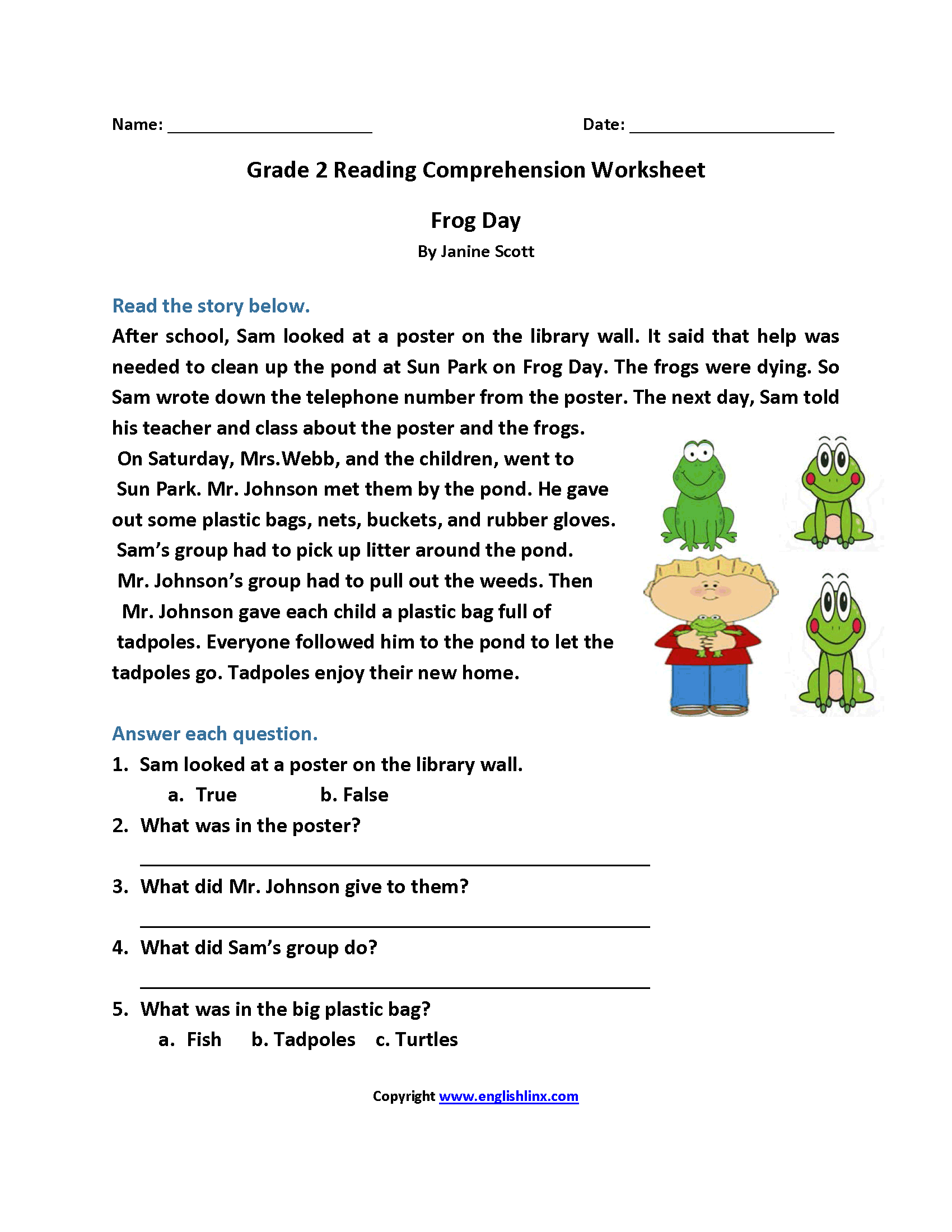 - Frog Day Second Grade Reading Worksheets Reading Comprehension Worksheets,  Comprehension Worksheets, 2nd Grade Reading Worksheets