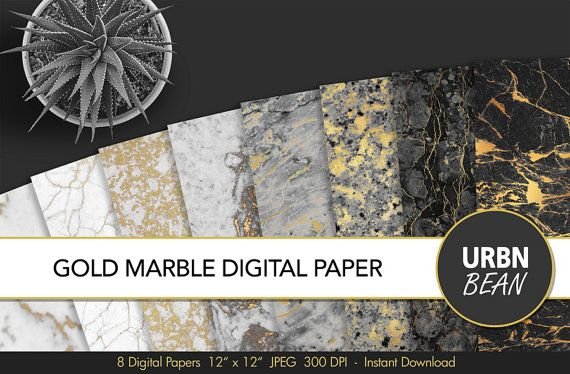 Marble Digital Paper. Black and White and Gold Marble #marbletexture