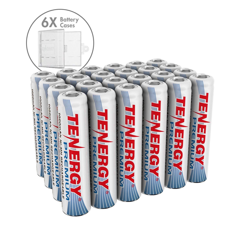 Combo 24 Pcs Tenergy Premium Aaa 1000mah Nimh Rechargeable Batteries 6 Aaa Size Holders Rechargeable Batteries Nimh Recharge