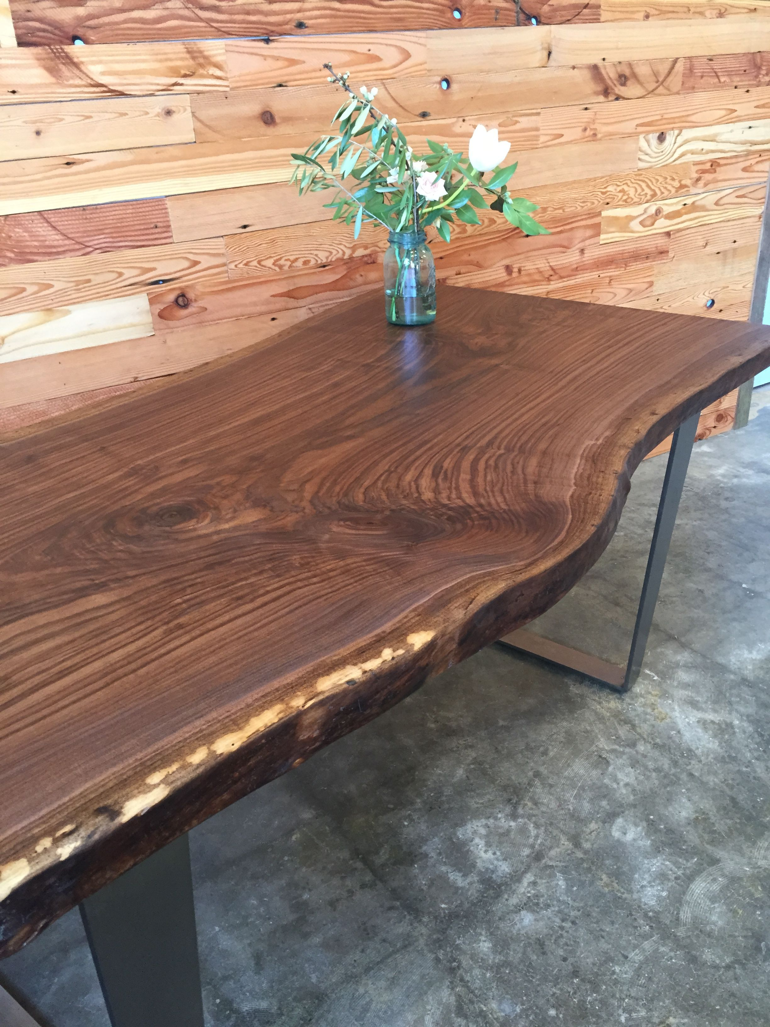 Reclaimed Oregon Black Walnut On A Steel Box Base. Custom And Made To Order.