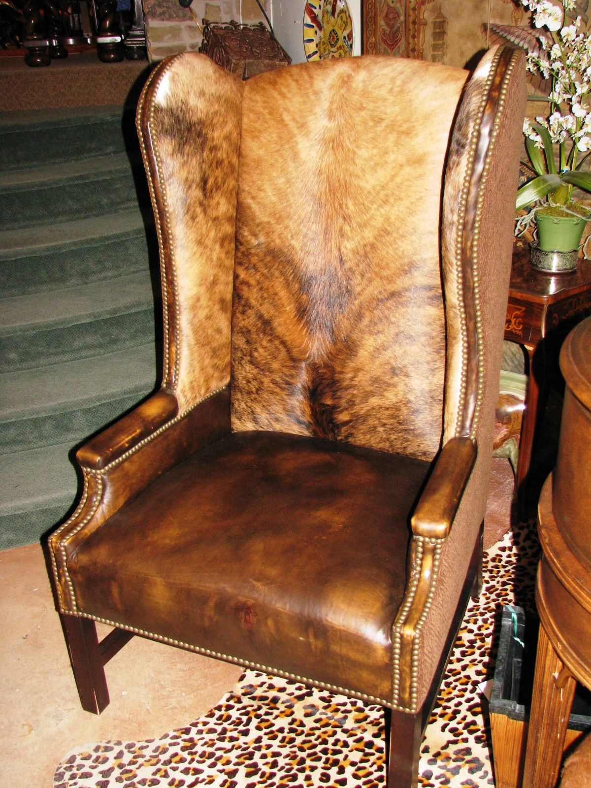 Beautiful Cowhide Wingback Chair